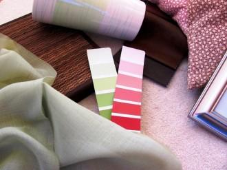 Collage, Einrichtungskonzept, Stoffe, Farben, Materialien