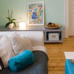 Wohnzimmer, türkis, Einrichtungsplanung, Kundenwünsche